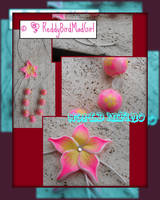 Big Fuxia/Yellow Flower: Necklace