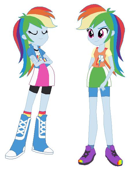 human rainbow dash and pony rainbow dash by