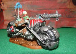 Orc Warlord on a warbike deff kopta conversion