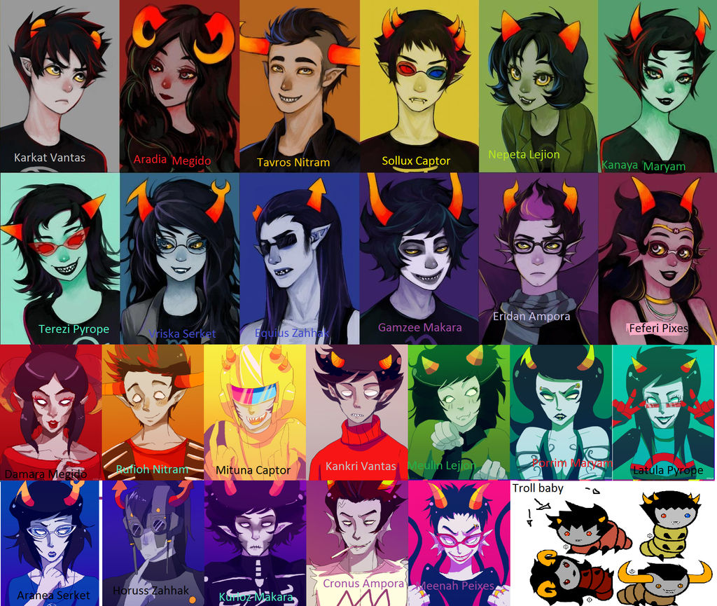 Homestuck Characters : Make character sheets trollcall sheets ancient trollcards containment procedures taint sim make echeladders.