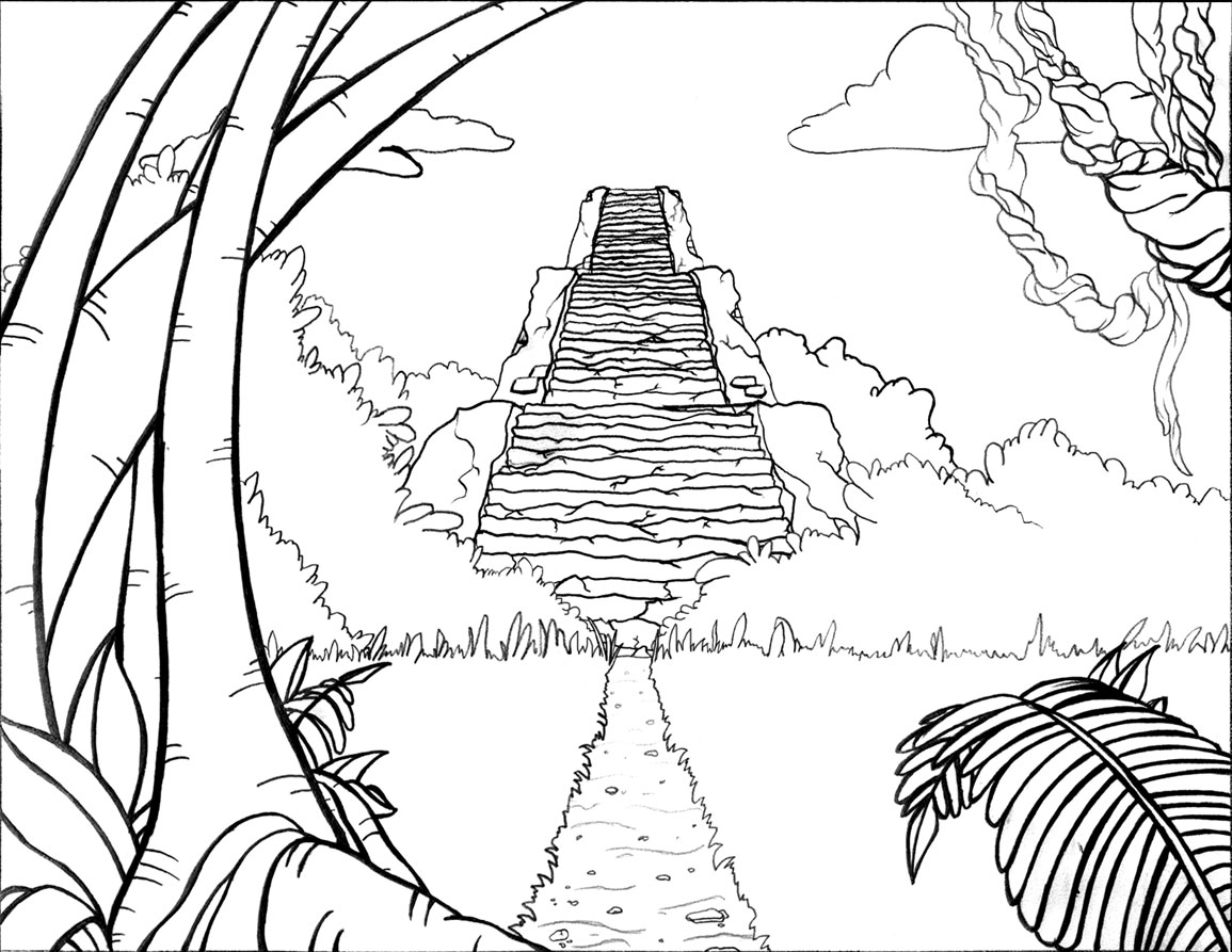 easy jungle drawings sketch coloring page