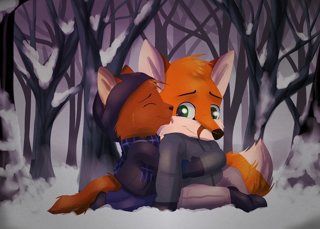 Snowy Snuggles by FeyNeko