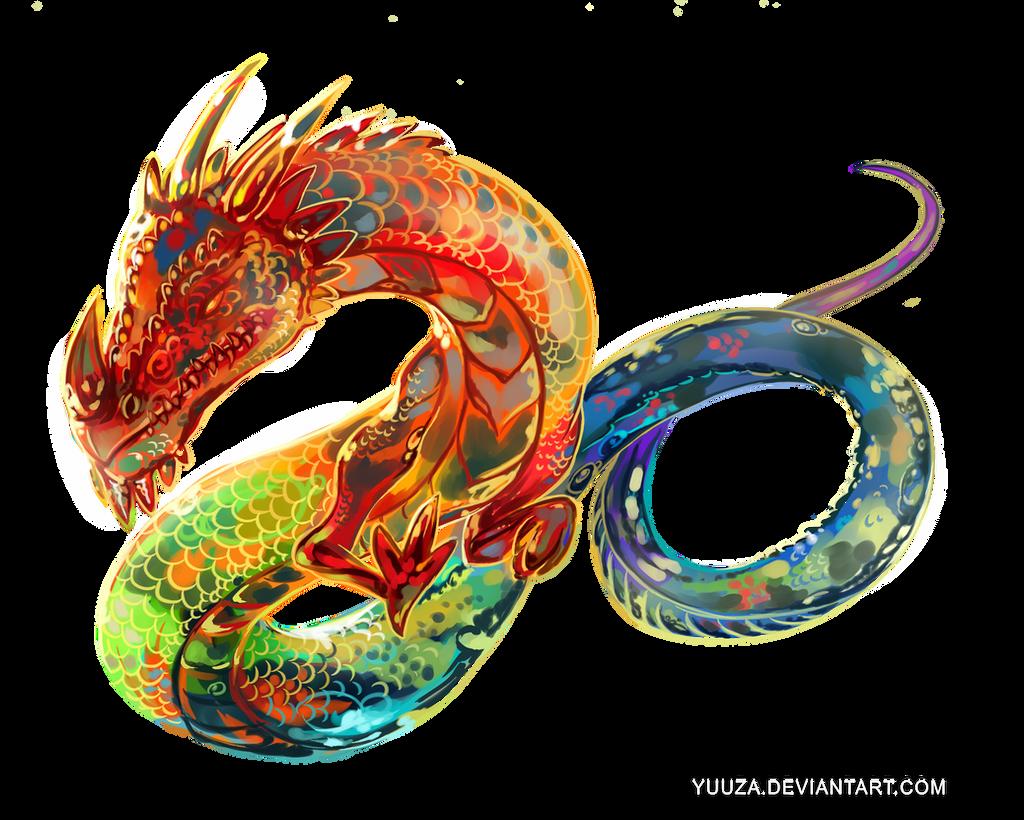 Dragon Tattoo Png: Rainbow Dragon Tattoo Art By Yuuza On DeviantArt