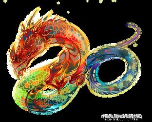 Rainbow dragon tattoo art by Yuuza
