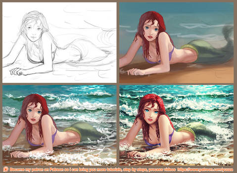 Ariel washed ashore - step by step