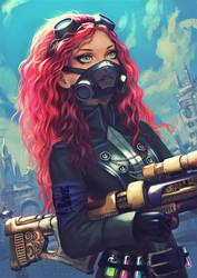 Steampunk redhead girl by Yuuza