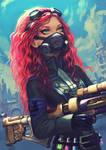 Steampunk redhead girl