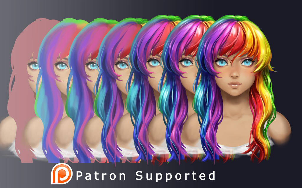 Rainbow Hair tutorial preview by Yuuza