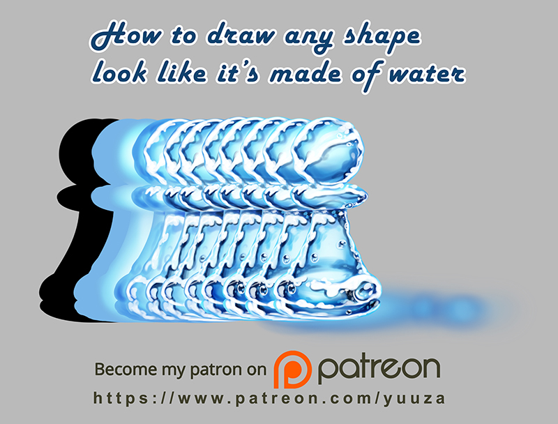 How to draw any shape look like it's made of water by Yuuza