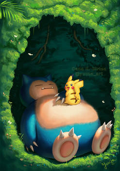 Sleeping Snorlax and Pikachu