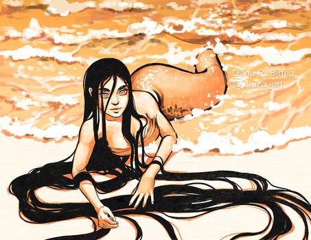 Mermaid Sketch on orange