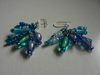 Blue earrings by luthienblack