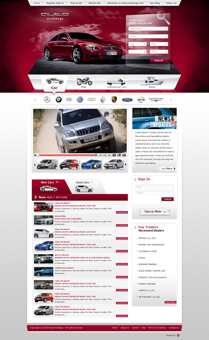 Auto Exchange Web Design by Dexign-Oxigen