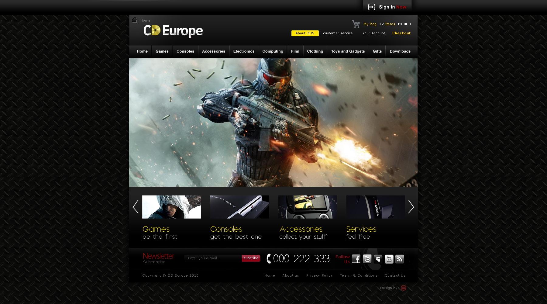 Cd Europe gaming website design by Dexign-Oxigen on DeviantArt
