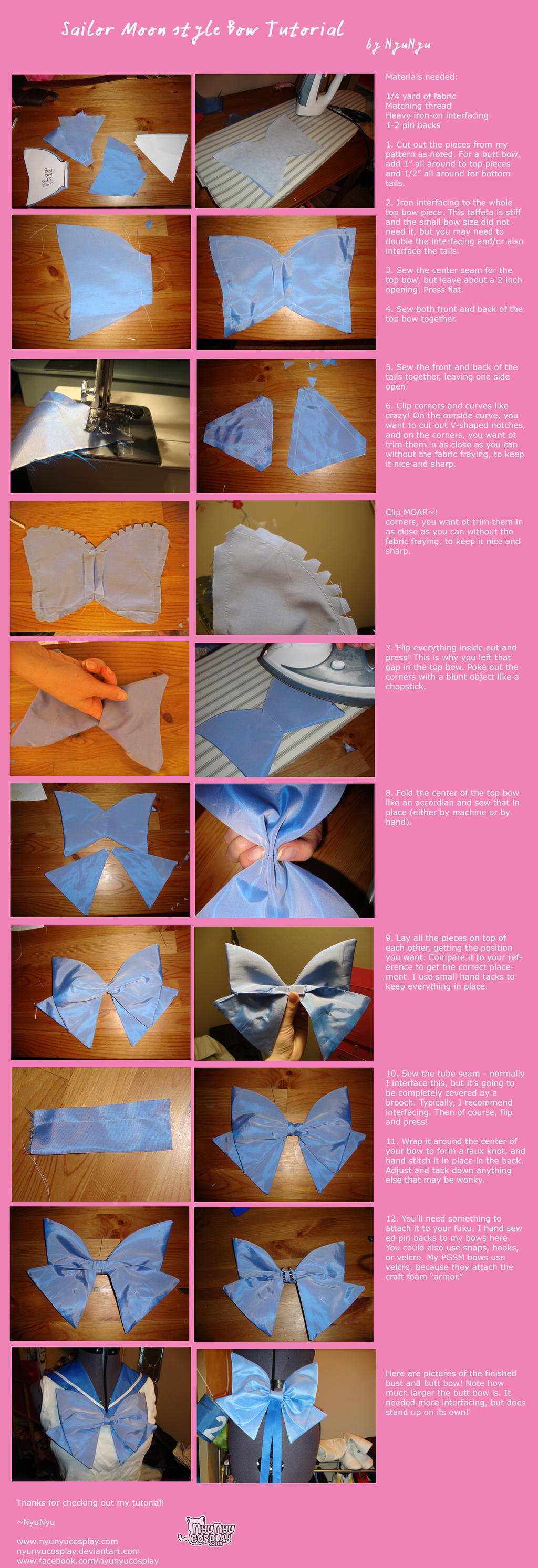 Sailor Moon style bow tutorial by nyunyucosplay