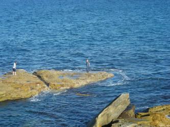 Girls on the Rocks by ElvenSheepStock