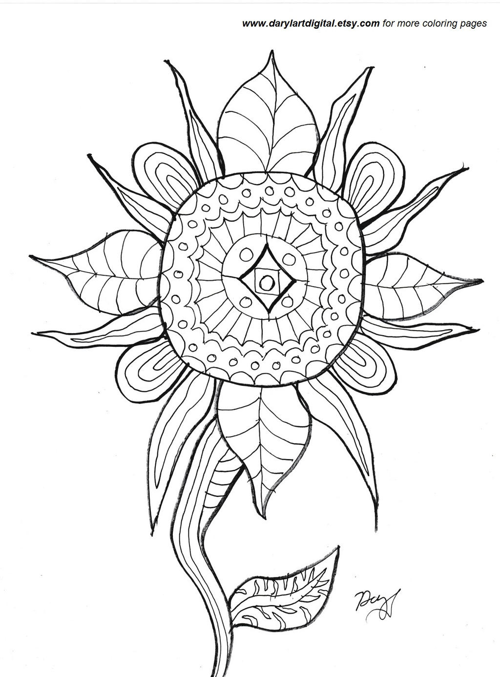 Abstract Flower Free Printable Coloring Sheet By Daryl The Cartoonist On Deviantart