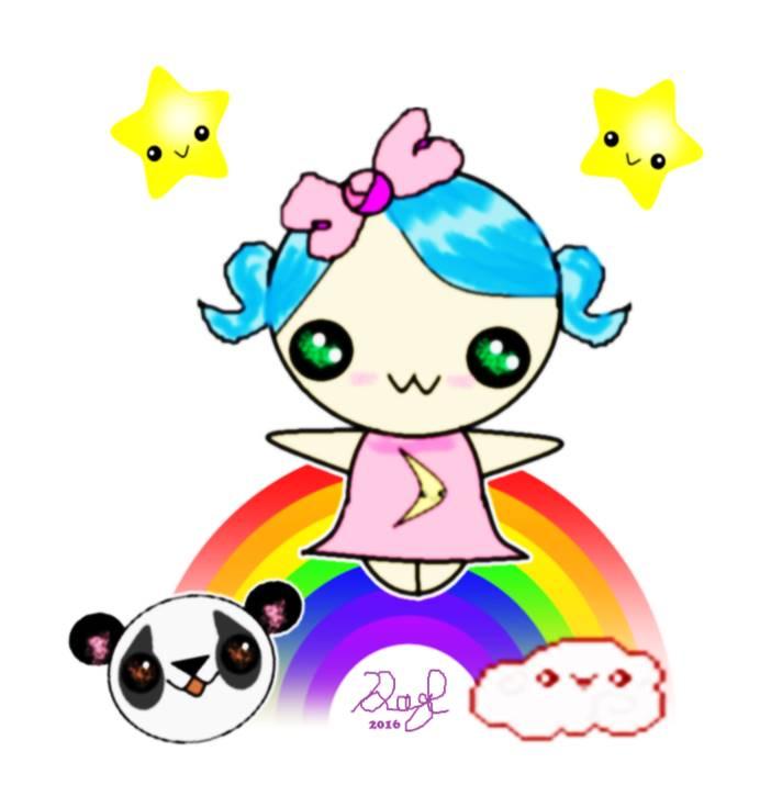 Kawaii Rainbow Girl by Daryl-the-cartoonist
