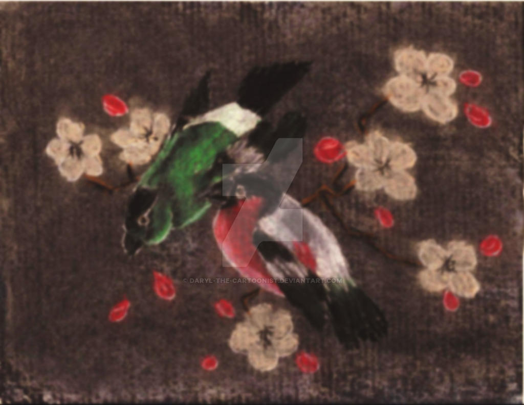 Japanese Birds with Flowers by Daryl-the-cartoonist