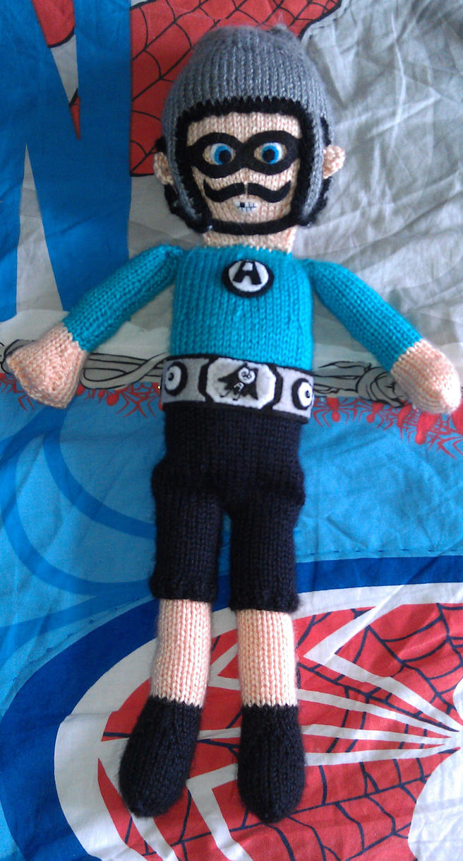 The Aquabats Mc Bat Commander knitted 19inch doll by erin-meow
