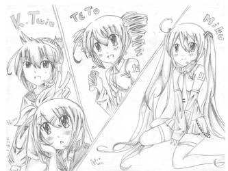 Miku, Teto, and Kagamine Twins by ebifuu