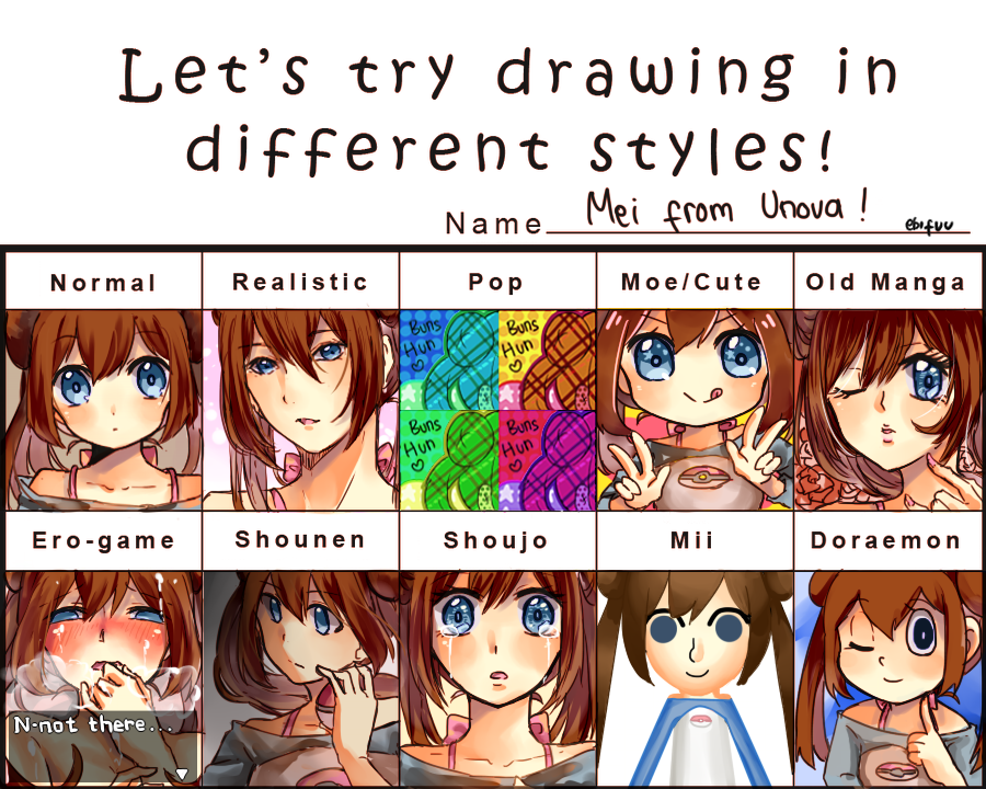 Lets try drawing in different styles meme by ebifuu