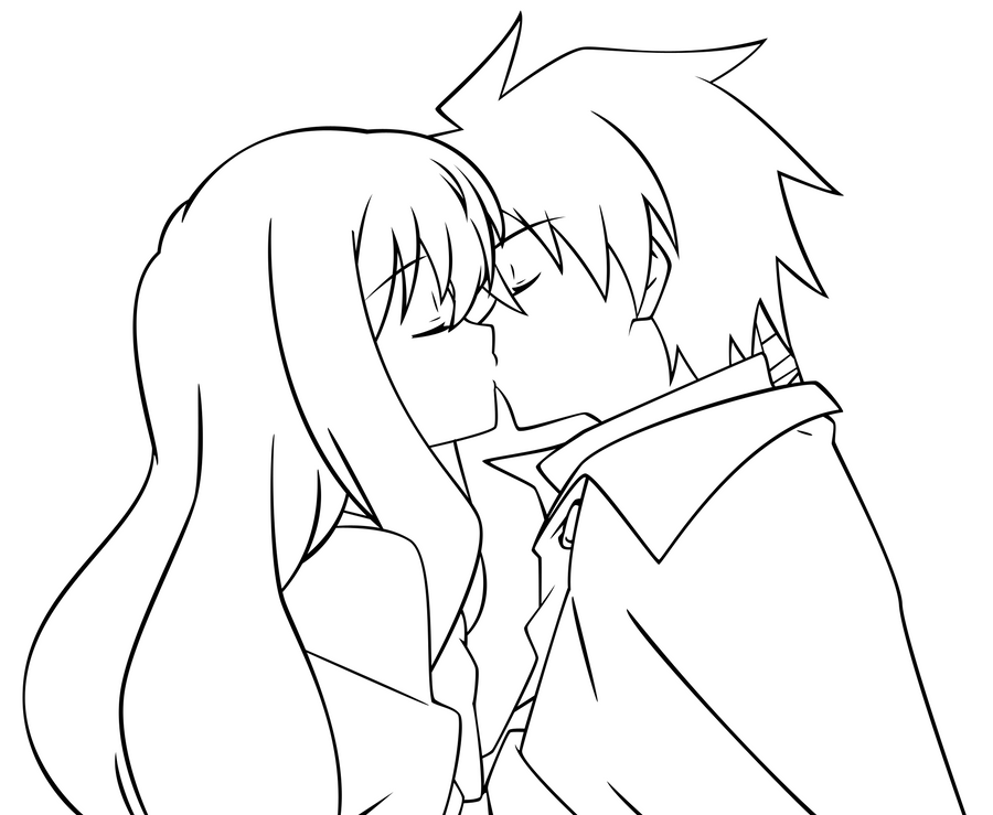 Line Art Kiss : Louise and saito kiss lineart by alecza on deviantart