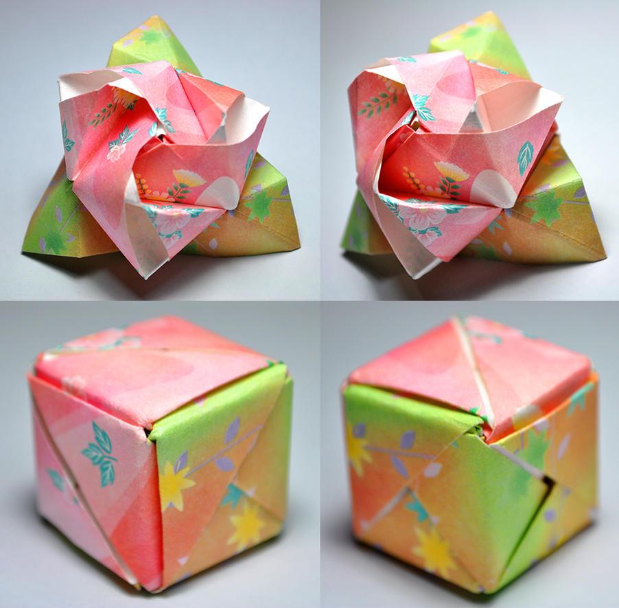origami magic rose cube by satkyoyama on deviantart