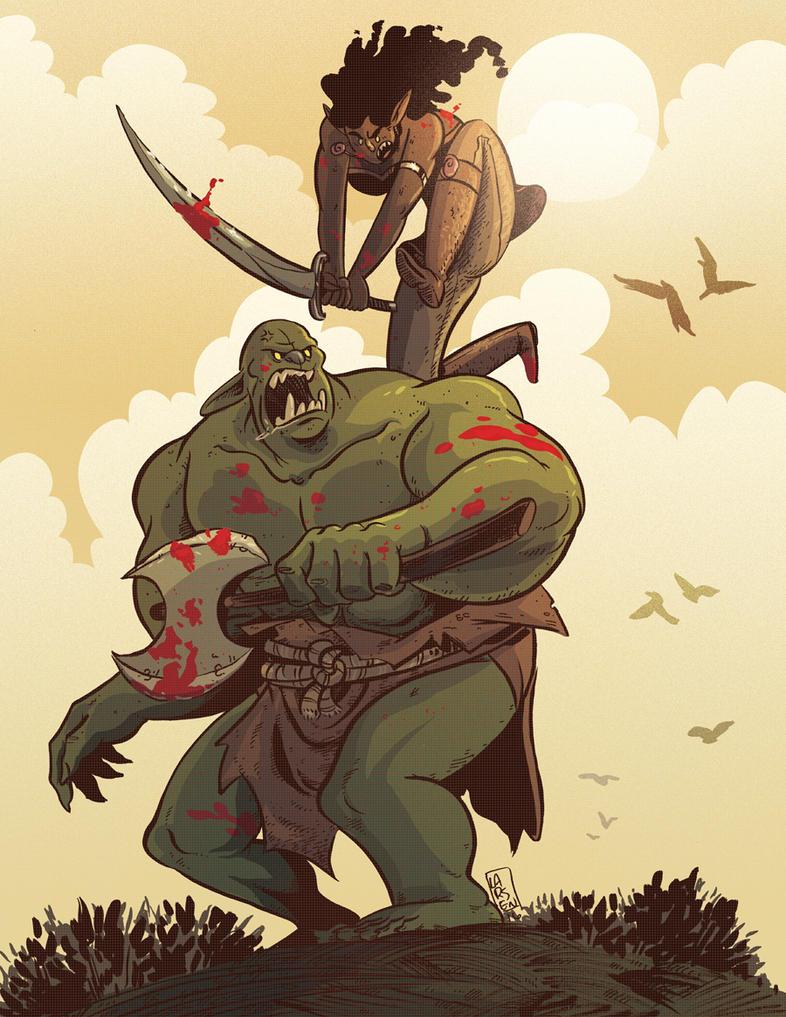 Goblin vs Troll by liliesformary