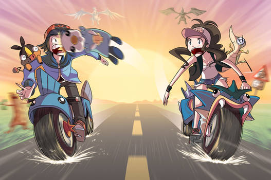 PKMN BATTLES ON MOTORCYCLES by Curly-Artist