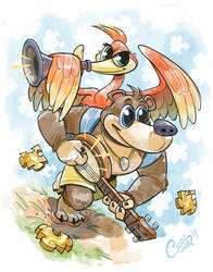 Banjo Kazooie Jiggy all the way by Curly-Artist