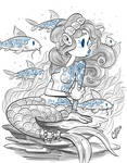 Mermaid and Fish with Wave Tattoos