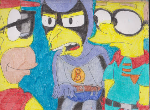 Burns and Smithers as Superheroes