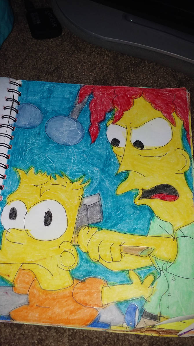 Bart Being Sledgehammered by Bob
