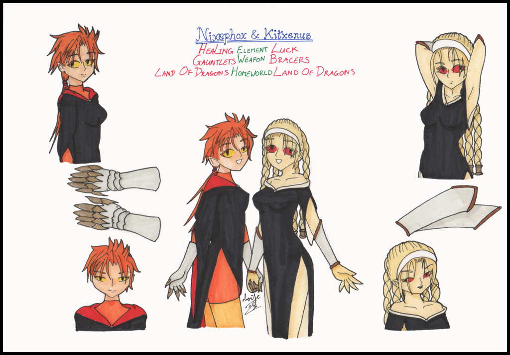 Nixephox and Kitxenus by Cor-Draco