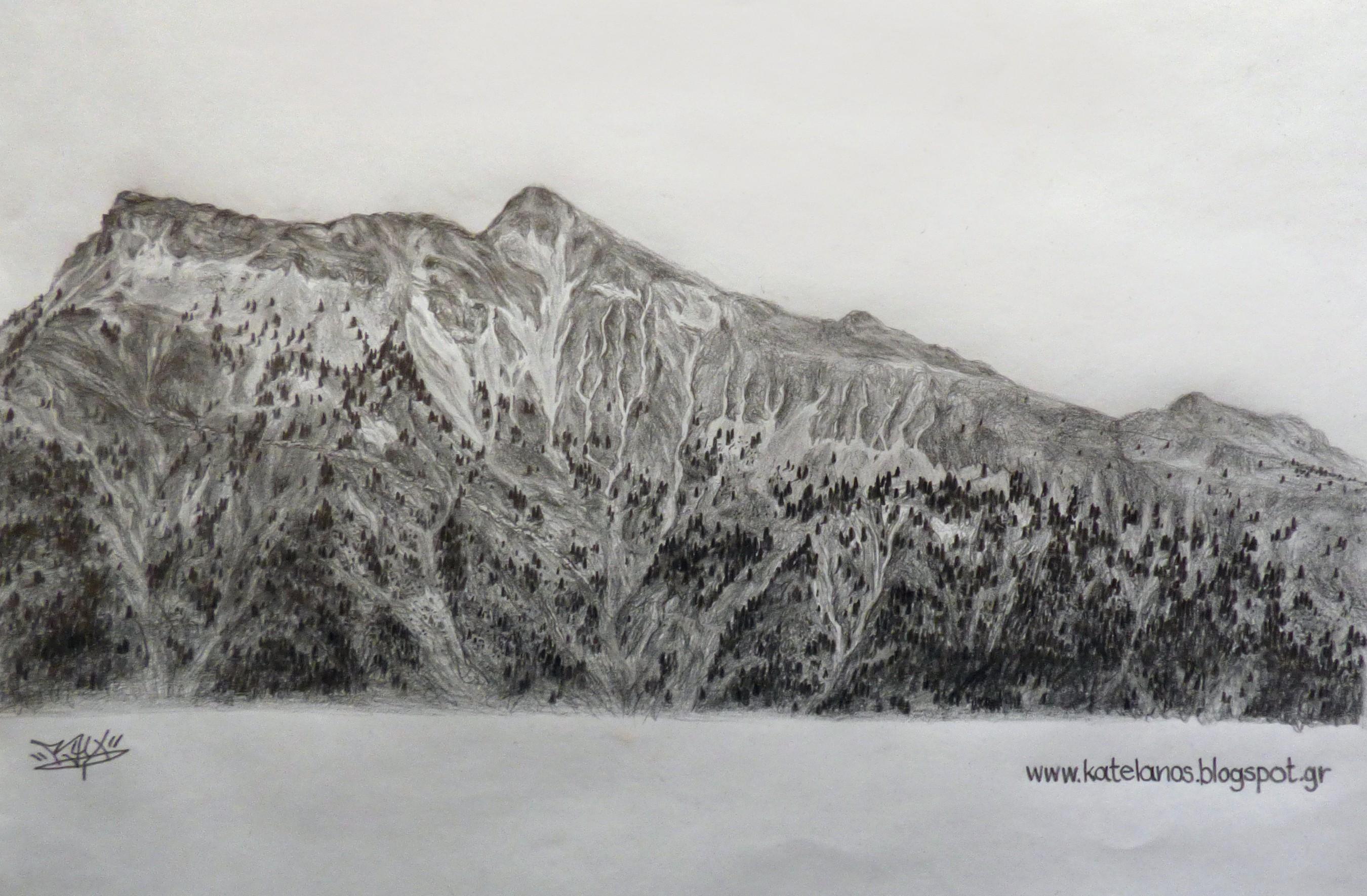 χελιδόνα ευρυτανίας βουνό σκίτσο