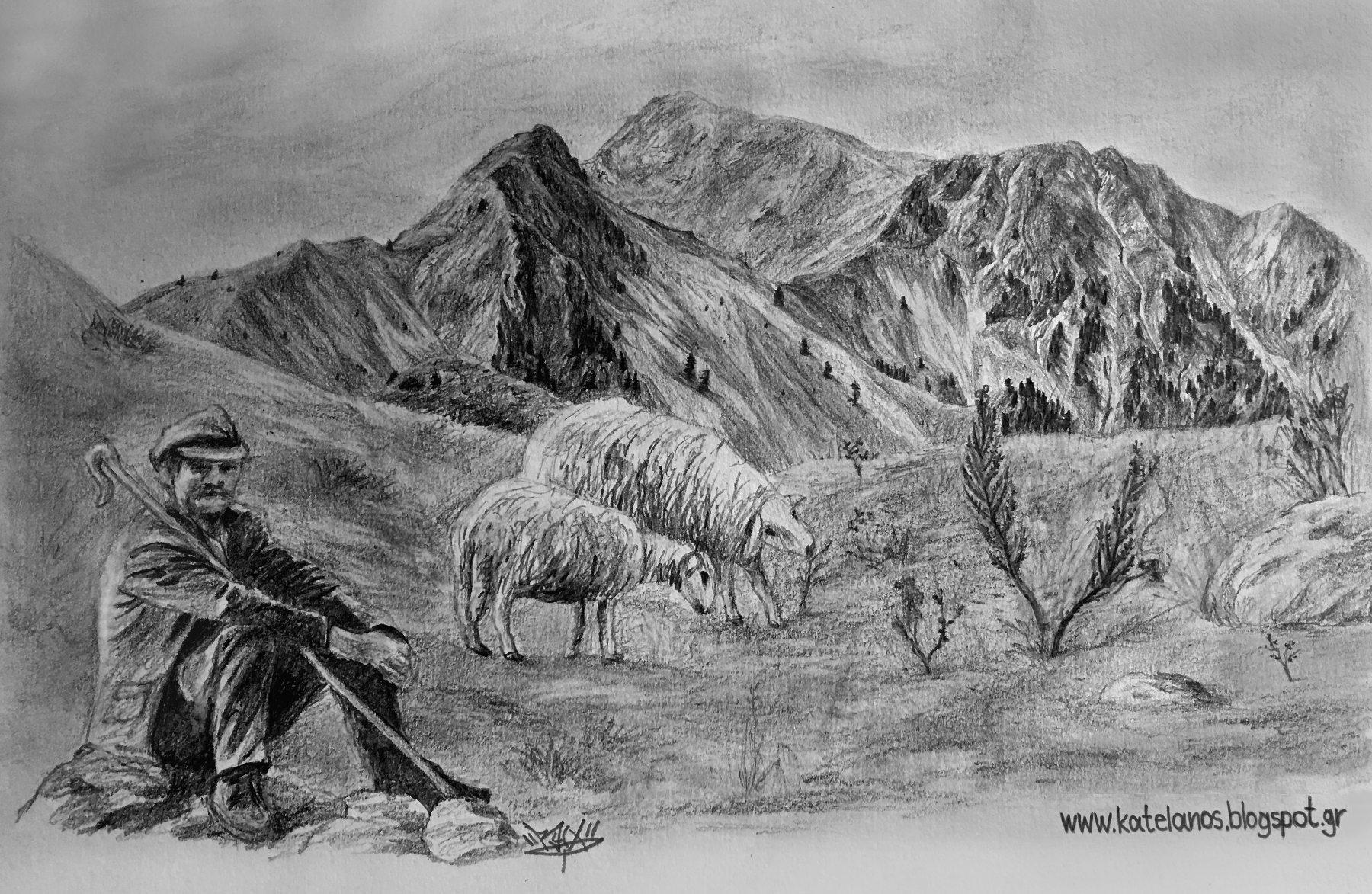 κατελανος παναιτωλικου κρημνιτσα βουνο σκιτσο παναιτωλικο ορος τσελιγκας βοσκος προβατα σκιτσα