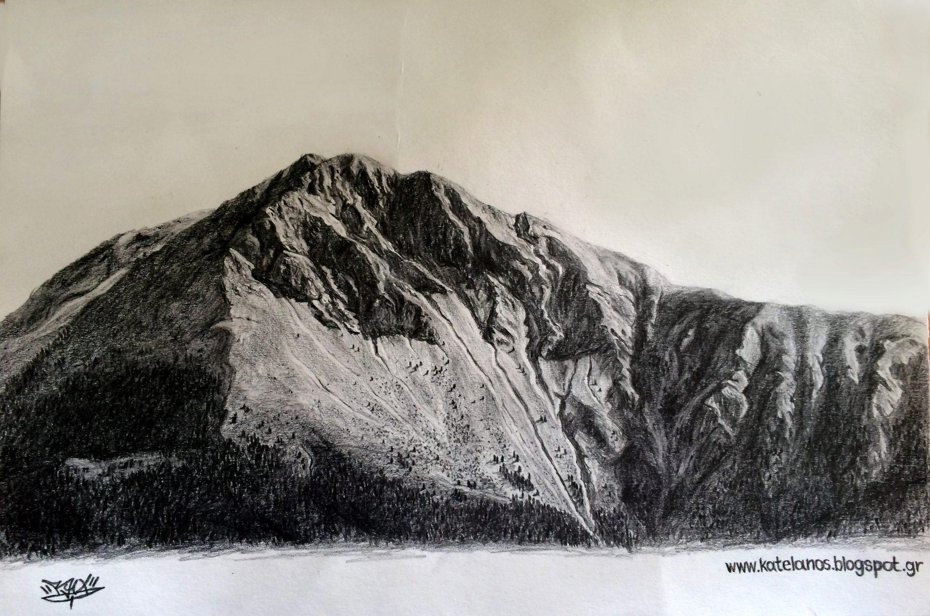 καλιακουδα βουνο ευρυτανιας σκιτσο σκιτσα βουνων