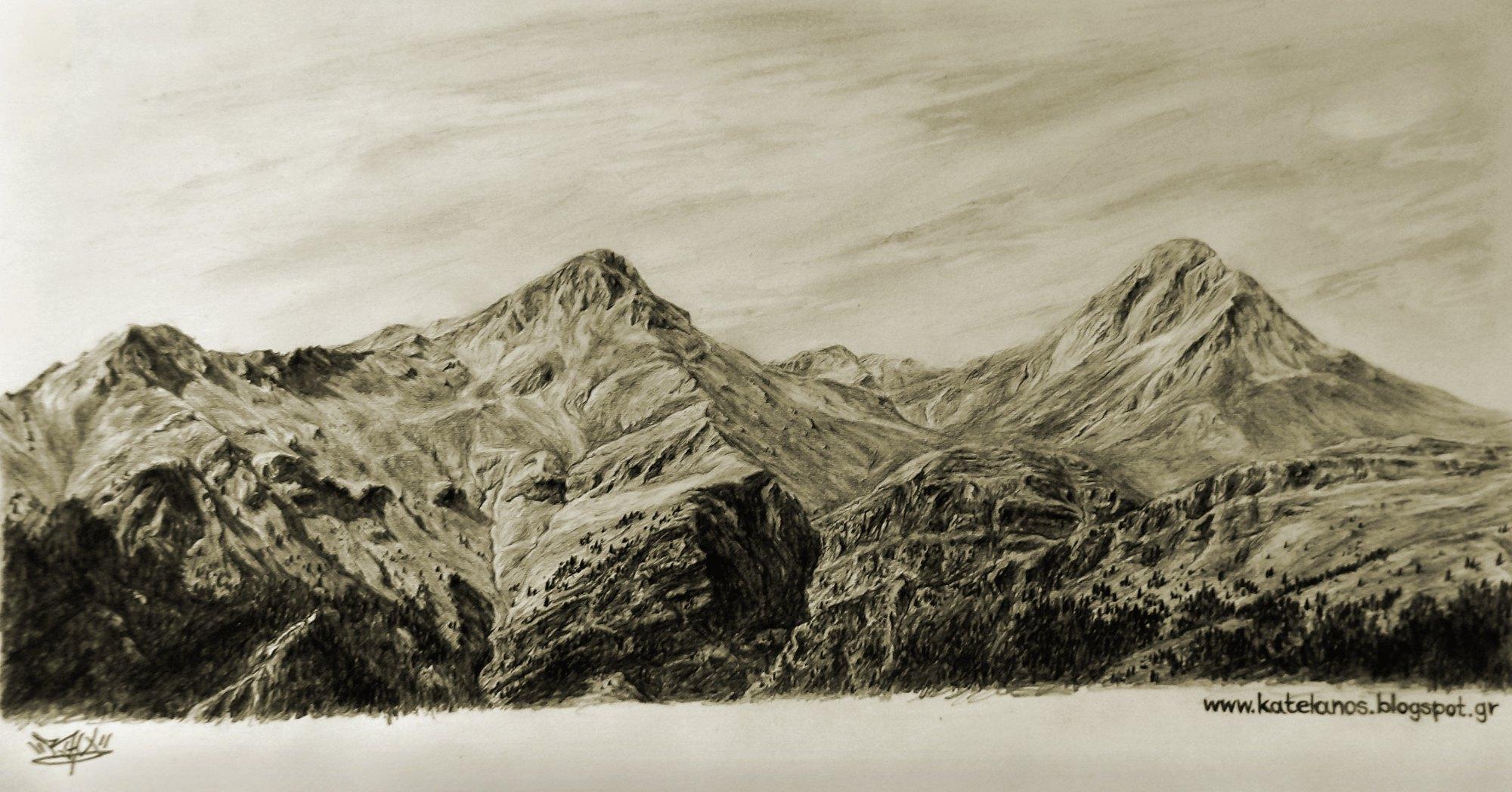 ερυμανθος αχαιας ωλενος μουγγιλα βουνο σκιτσο erymanthos mountain