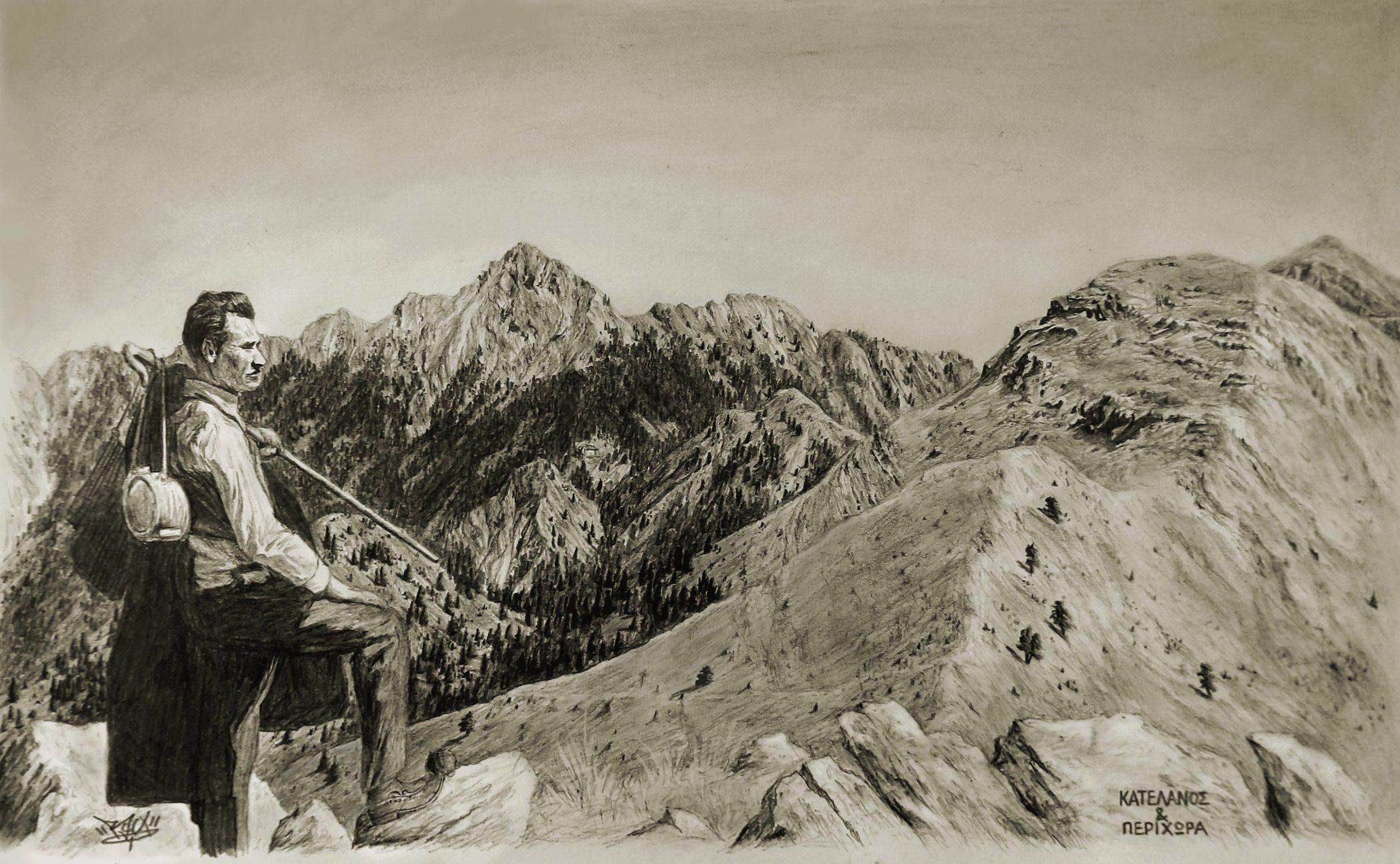 τσελιγκας στο βουνο τσοπανος κουτπας παναιτωλικου νεραιδοβουνι σκιτσο βουνα σκιτσα