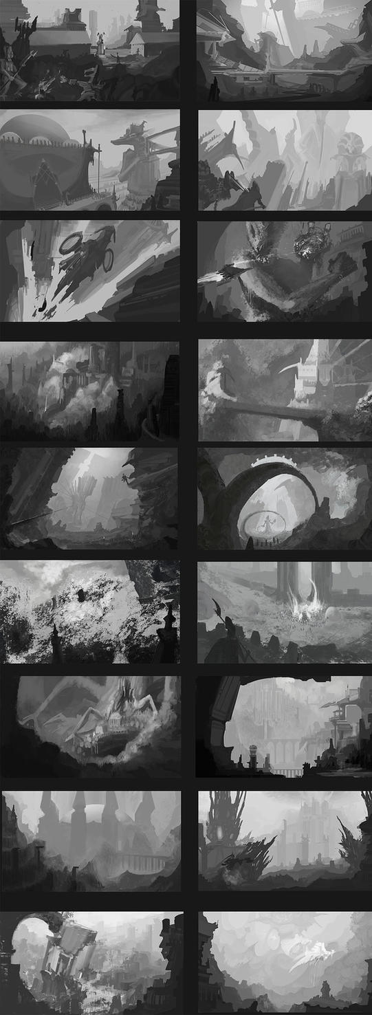 BnW Environment Sketches by fmacmanus