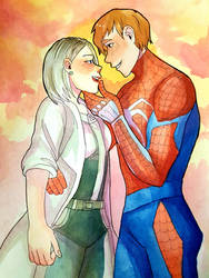 Spiderman x Silver Sable by Kenshin3107