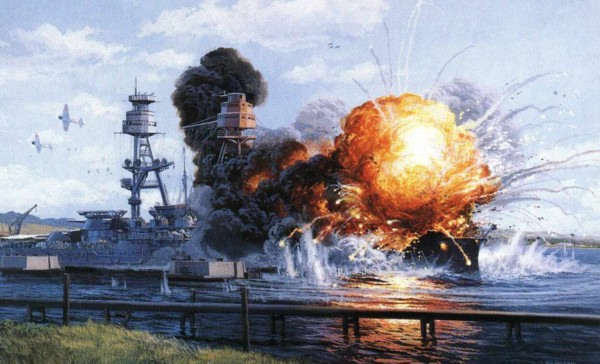 USS Arizona Explosian painting by 121199