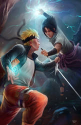 Naruto vs Sasuke by NOPEYS