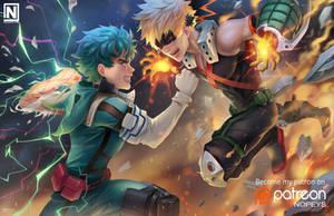 Deku VS Bakugou by NOPEYS
