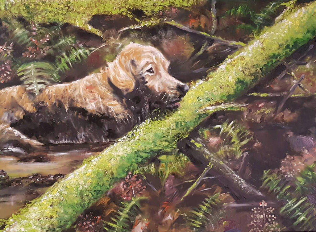 Bath Time- A Finger Painting by oilpastelpainting
