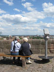 Old couple on bench, Nuremberg castle, Germany by johnslegers