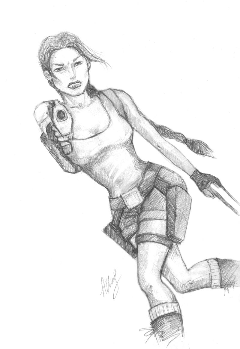 Lara Croft, sketch 2 by alineshenon