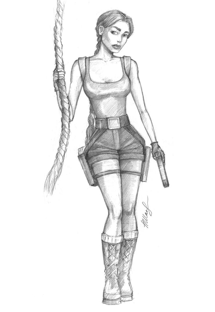 Lara with a rope by alineshenon