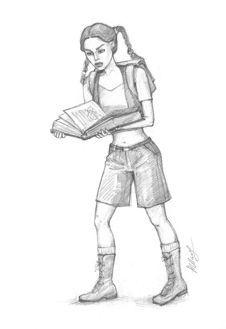 Little Lara reads the Bestiary book by alineshenon